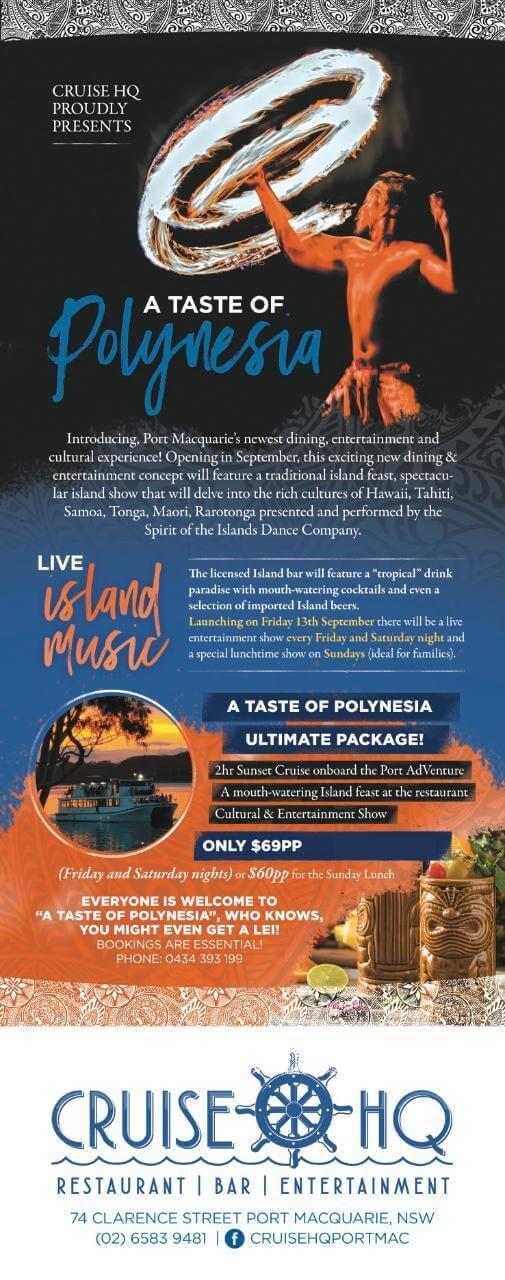 A Taste of Polynesia Cruise Port Macquarie